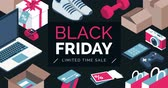 Black friday promotional sale banner with isometric items, shopping and retail concept