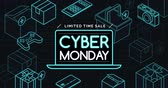 Cyber monday promotional sale banner with neon hi-tech items, e-shopping and offers concept 動画素材