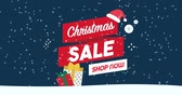 eventos : Promotional Christmas sale animation with gifts, decorations, shopping cart and snow falling