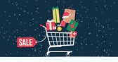 promotional : Promotional Christmas sale animation with gifts, decorations, shopping cart and snow falling