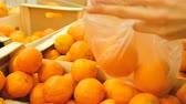 saco : Woman buying mandarins at the store