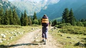 hiking trail : Tourists with backpacks walk trekking in a hike against the backdrop of a beautiful mountain landscape Stock Footage