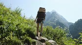 góral : Woman hiker climbs uphill in a hiking trip with beautiful landscape. Girl with a backpack on the climb, camera movement