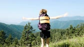 elevação : Woman tourist with a backpack raises her hands up and jumps from happiness against the background of a beautiful mountain landscape during a hike. The concept of success, goal achievement and victory. Stock Footage