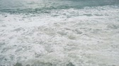 mooring : Big waves are raging on the sea, the sea is worried about the storm, slow motion
