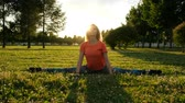 formacion : Girl gymnast sits on a string on the grass in a city park in nature and makes side bends to the legs. Archivo de Video