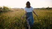 elbise : Woman in a dress romantically runs across the field with tall grass at sunset, slow motion and camera movement Stok Video