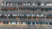 localizar : picturesque storage parking with coloured car rows aerial