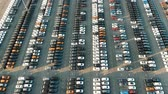 lote : different car rows parked on finished auto warehouse area Stock Footage