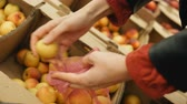 상품 : girl puts apricots in a eco bag in a supermarket 무비클립