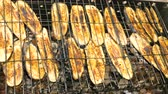 vitaminok : Sliced eggplant is grilled on a charcoal grill Stock mozgókép