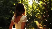 fairytale : Princess Dress Forest Young Beautiful Woman Road Background