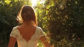 fairytale : Beautiful Princess Walking in Enchanted Forest Stock Footage