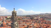 Drone Footage Travel Architecture Clerigos Church Tower Baroque Style Cityscape Porto Residential Tourist Attraction Famous Portugal Landmark Europe Old History