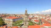 Baroque Style Clerigos Church Clock Tower Portugal Drone Footage City Porto Residential Famous History Europe Old Travel Landmark Tourist Attraction