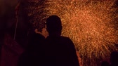 свадьба : Young Couple Watching Beautiful Fireworks Display 4Th Of July New Years Eve Celebration Vent Love Romantic Date Relationship Happiness Concept