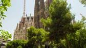Sagrada Familia Cathedral In Barcelona Spain Exterior Tilt Shot