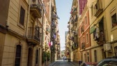 BARCELONA, SPAIN - CIRCA JULY 2016: Apartment building streets in Barcelonita area. Стоковые видеозаписи