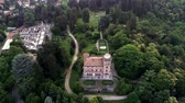 garden paths : Aerial view of Villa Toeplitz with public garden of Varese in the evening, Lombardy, Italy