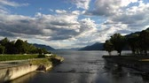 lombardia : Time Lapse of Lake Maggiore with cloudy sky at sunset in Maccagno, Italy