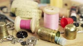 刺繍 : Various vintage accessories and sewing tools. Bronze and steel thimbles