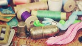 Various vintage accessories and sewing tools