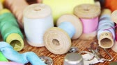 Vintage sewing accessories close up