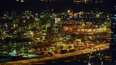steel : Container port in Singapore during night