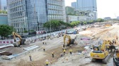 Hong Kong - AUGUST 1, 2014: Hong Kong Construction site on August 1 in Hong Kong, China. Hong Kong has a lot of ongoing construction Stock Footage