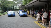 Singapore - AUGUST 5, 2014: Taxi stand on August 5 in Singapore, Singapore. Taxis are popular transportation means in Singapore