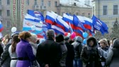 rossiya : CHITA, RUSSIA - MAY 1: Flags of United Russia political party during the May Day demonstration.  May 1, 2012