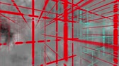 abstrakcja : Abstract red grids in 3D space and fog