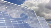 solar energy power : Solar panel cloud reflection time lapse Stock Footage