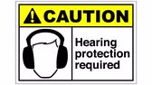 required : A hearing protection required sign, the shot is coming into focus and goes again out of focus Stock Footage