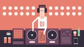 vinil : DJ and his dance music equipment flat design on a red background