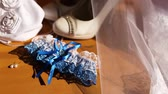 wedding garter : blue wedding garter with white lace Stock Footage