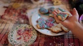 baked : Cooking at home homemade ginger cookies. Stock Footage