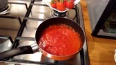 nutritious : tomato sauce cooked on frying pan kitchen