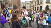 bishop : KRAKOW, POLAND-AUGUST 6, 2017: Bishop Marek Jedraszewski greets pilgrims students who reach the Shrine of the Black Madonna of Jasna Gora in Czestochowa starting from Krakow. It is about 152 km long Stock Footage