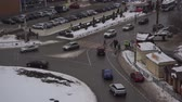 cross : Pedestrians Crosswalk, High Angle View. Pedestrian crossing a street with vehicles in Russia. High angle view Stock Footage