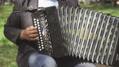 accordionist : VELIKIY NOVGOROD, RUSSIA - JUNE 15, 2016: Man aged 60s plays the accordion outdoors in summer. Close up