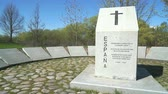spaniards : VELIKIY NOVGOROD, RUSSIA - MAY 5, 2016. Monument to the fallen Spanish soldiers of Blue Division at military memorial cemetery in 1941-1944 Stock Footage