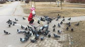 scaring : VELIKIY NOVGOROD, RUSSIA - MART 25, 2017: Two little girls scare pigeons in the park in spring