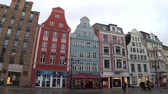 Rostock, Germany - January 25, 2018: Rostock city on the baltic sea. Center of old town. Стоковые видеозаписи