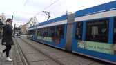 Rostock, Germany - January 25, 2018: RSAG Tram in Rostock city on the baltic sea. Center of old town. Стоковые видеозаписи