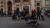 Rome, Italy - april 17, 2018: Street dancer in rome. Breakdancer or break dance dancers in in the area of the Spanish Steps