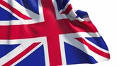 fabric : Waving UK flag (alpha, slow motion) Stock Footage