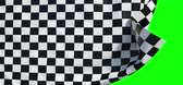 Waving checker finish flag (green alpha, slow motion)