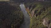 gut : Slow aerial flight over a gentle mountain river, pine forest. Camera tilts down.