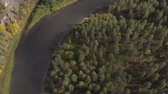 bashkortostan : Slow drone flight over gentle mountain river, pine forest, island. Vertical view